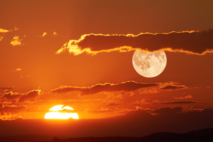 The sun and the moon can be seen simultaneously in the sky.