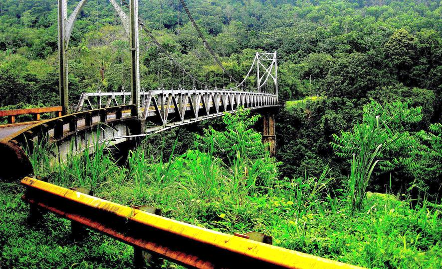 Metal bridge on the way to Volcano Arenal and La Fortuna, Costa Rica.