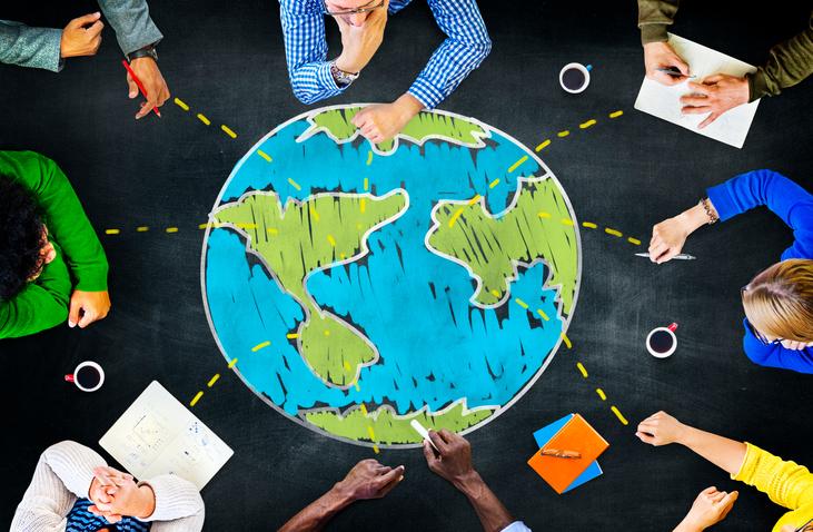 negócios, mapa, reunião