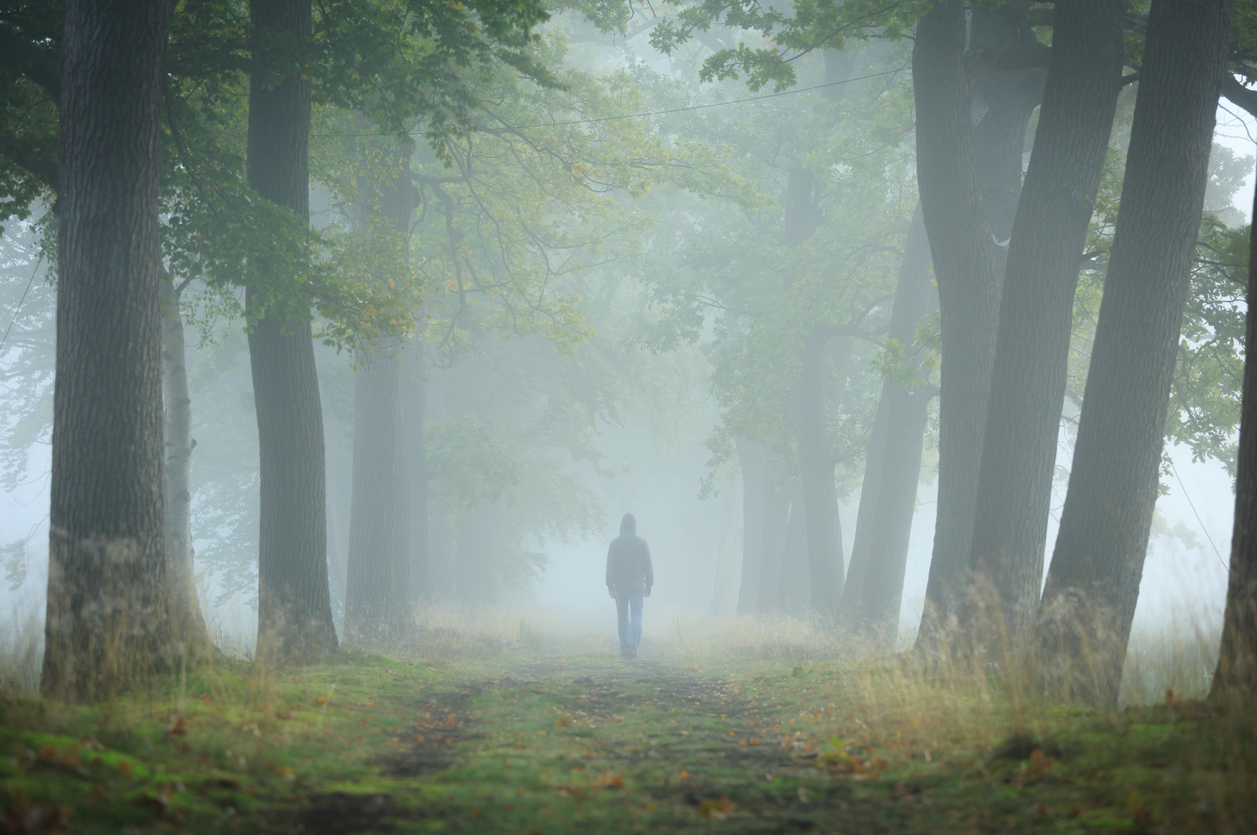 Anonymous man in hoodie walking alone in a lane on a foggy, autumn morning. Shallow D.O.F.